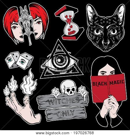 Vector collection of fashion badges in witch's style. Hand drawn illustration. Colorful template for card poster banner print for t-shirt made in cartoon style.