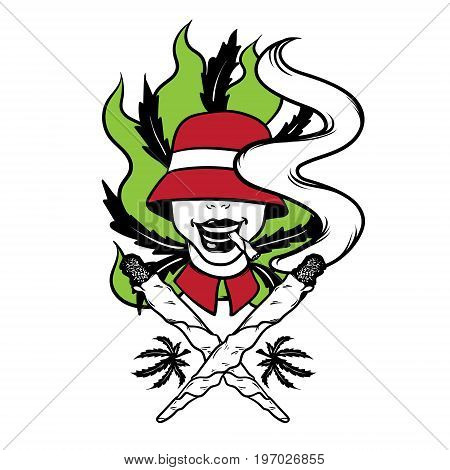 Vector hand drawn illsutration of person in hat with joint. Tattoo artwork. Colorful template for card poster banner print for t-shirt made in cartoon style.