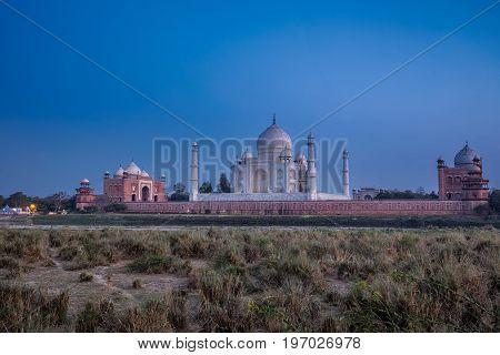 Taj Mahal shot at sunset in the Indian city of Agra, Uttar Pradesh.