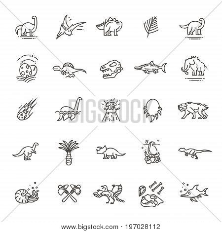 Set of modern vector plain line design icons and pictogram of dinosaurs species, prehistoric age life