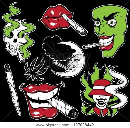Vector fashion patch badges set with lips skull roll-up face and marijuana. Patches pins stickers made in hand drawn cartoon style. Weed stickers collection.