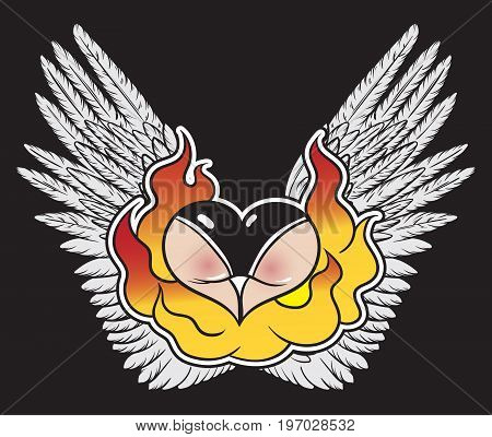 Vector hand drawn colorful illustration of female bottom with fire and wings. Template for card poster banner print for t-shirt.