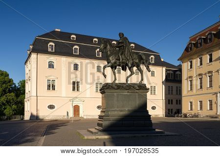 Statue of Karl August and Anna Amalia library Weimar Thuringia
