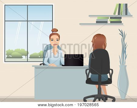 HR manager hires a Professional for the position / Staff recruitment, job interview. Flat design, vector illustration.
