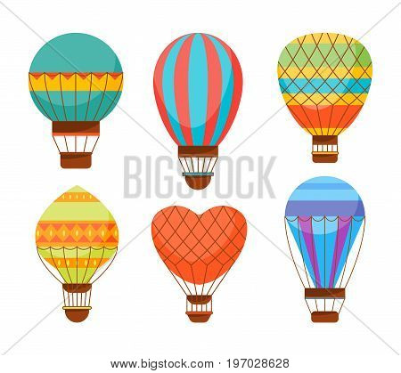 Cartoon Air Baloons Set Vacation, Tourism and Journey Isolated on Background Flat Style Design. Vector illustration
