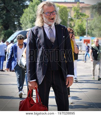 FLORENCE- 13 June 2017 Ezio Mancini on the street during the Pitti
