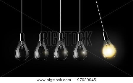 Glowing light bulb is among a lot of turned off light bulbs on dark black background , concept idea, perpetual Motion concept, an analogy with Newton's cradle, vector illustration