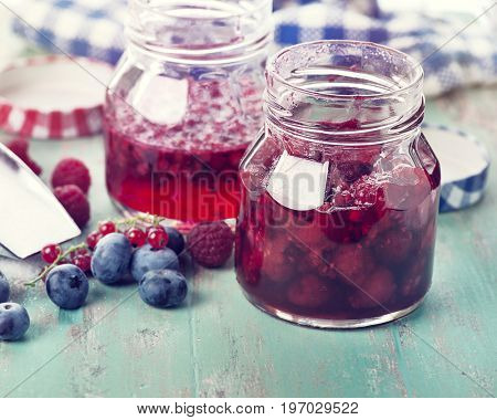 homemade raspberry, blueberry and red currant jam