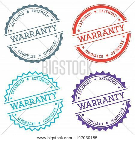 Warranty Extended Badge Isolated On White Background. Flat Style Round Label With Text. Circular Emb
