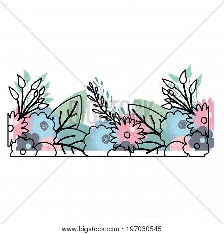 watercolor silhouette of multicolored decorative inferior edge with beautiful flowers ornaments vector illustration