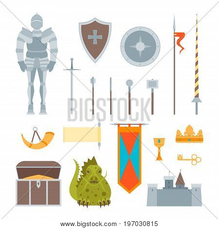 Cartoon Symbol Of Mediaeval Color Icons Set Fairytale or Fantasy Concept Flat Style Design. Vector illustration