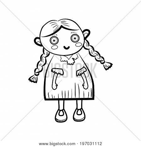 Sketch doll icon. Vector illustration EPS 10