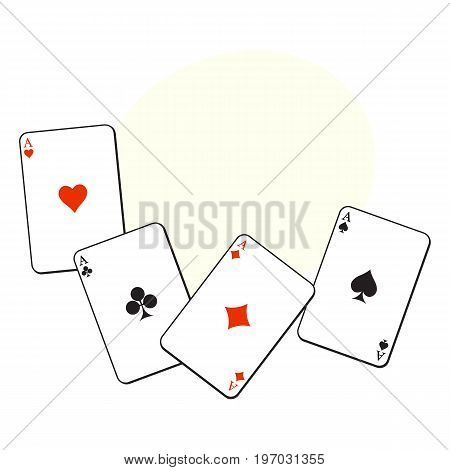 Set of hearts, spades, clubs and diamonds ace playing cards, sketch vector illustration with space for text. Set of playing cards, ace of all four suits - hearts, spades, clubs and diamonds