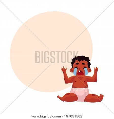 Front view portrait of cute black, African American baby, child in diaper sitting, crying hard, cartoon vector illustration with space for text. Crying black, African American baby in diaper