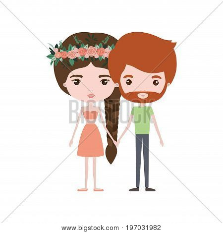 colorful caricature thin couple of bearded man and woman in skirt and top braid hairstyle with flower crown and holding hands vector illustration