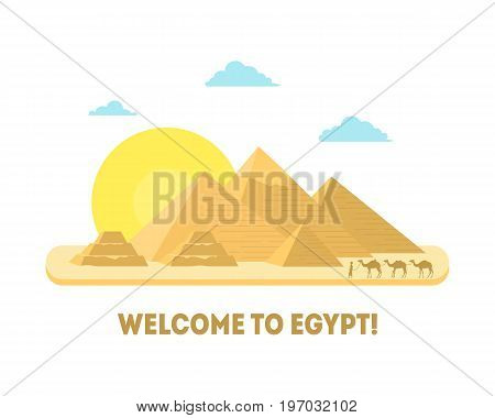 Cartoon Pyramid Symbol of Egypt Background Welcome Tourism Concept Flat Style Design Element. Vector illustration