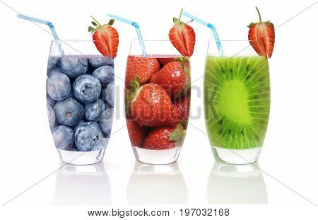 Different flavoured fruit smoothies including kiwi strawberry and blueberry