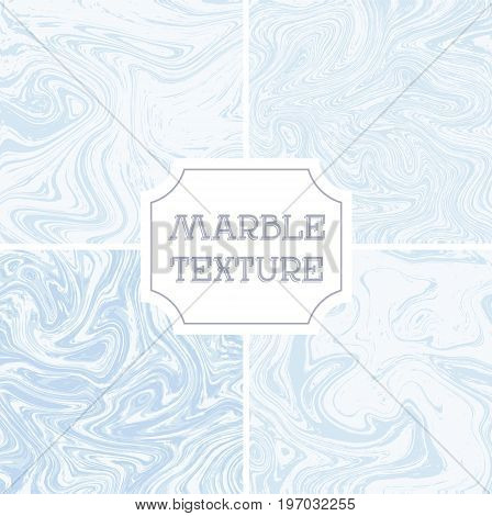 Light white and blue marble texture. Vector liquid background, template