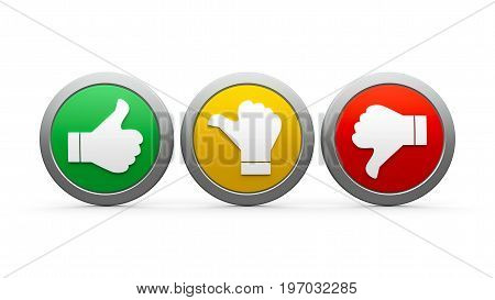 Positive neutral and negative icons isolated on white background - represents customer satisfaction and feedback three-dimensional rendering 3D illustration