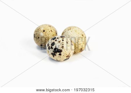 small and fresh quail eggs . with white backgraund.