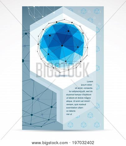 Computer technologies creative advertisement brochure. Abstract three-dimensional blue shape vector design element.