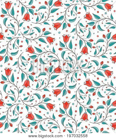 Bellflower floral design element. Seamless floral pattern with colorful flowers. For wallpaper fabric pattern fill web page background surface texture. Harebell bluebell vector illustration.