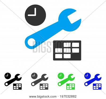 Date And Time Setup flat vector illustration. Colored date and time setup gray, black, blue, green pictogram variants. Flat icon style for web design.