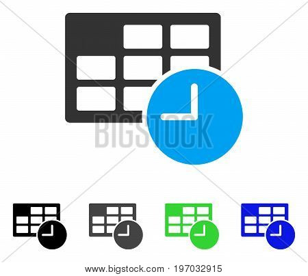 Date And Time flat vector pictogram. Colored date and time gray, black, blue, green pictogram versions. Flat icon style for web design.