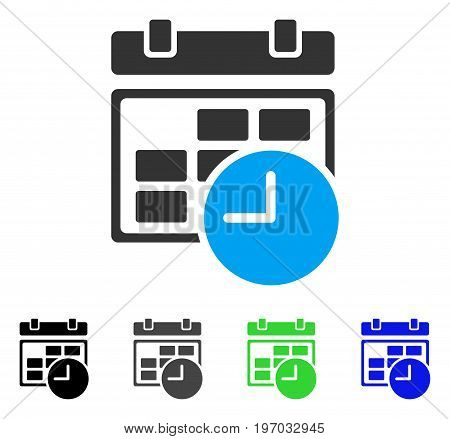 Date And Time flat vector pictograph. Colored date and time gray, black, blue, green pictogram variants. Flat icon style for graphic design.