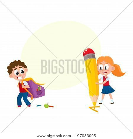 Back to school concept - boy carrying backpack, girl with huge pencil, cartoon vector illustration isolated on white background with speech bubble