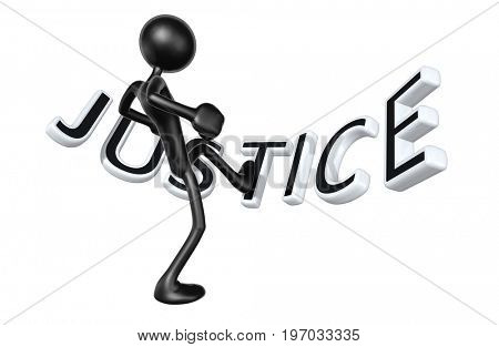 The Original 3D Character Illustration Kicking Justice