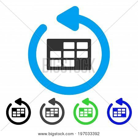 Refresh Calendar Table flat vector pictogram. Colored refresh calendar table gray, black, blue, green pictogram variants. Flat icon style for application design.