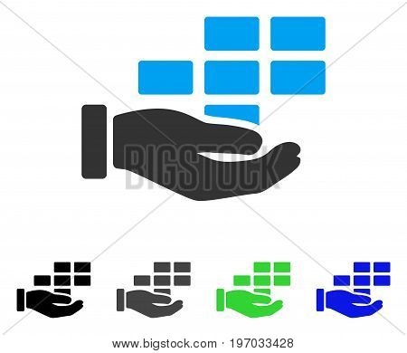 Schedule Service Hand flat vector illustration. Colored schedule service hand gray, black, blue, green icon variants. Flat icon style for web design.
