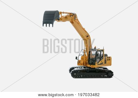 Excavator loader model isolated on white background