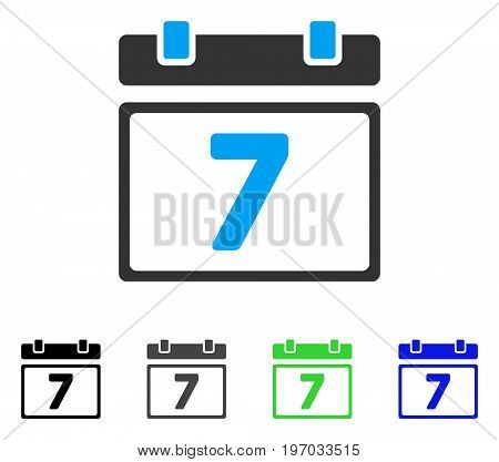 Seventh Day flat vector pictograph. Colored Seventh day gray, black, blue, green pictogram versions. Flat icon style for application design.