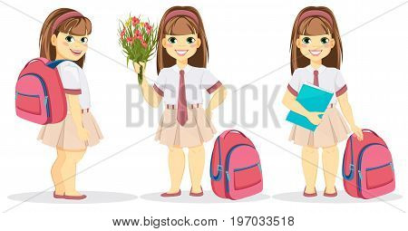 Schoolgirl with backpack bouquet of flowers and textbook. Coming back to school. Cute smiling girl. Cartoon character. Vector illustration.