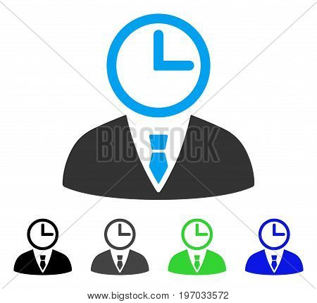 Time Manager flat vector pictograph. Colored time manager gray, black, blue, green pictogram versions. Flat icon style for web design.