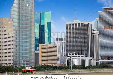 MIAMI, USA - APRIL 14 2017: View of downtown Miami from the ship docked at Royal Caribbean cruise terminal