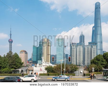 Shanghai, China - Nov 6, 2016: Along The Bund in a bus on Zhongshan Road East. Image overlooks the Pudong District, across the Huangpu River.
