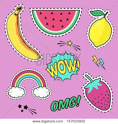 Vector Set With Cute Fashion Patch Badges: Banana, Watermelon, Lemon, Strawberry, Speech Bubble, Rai