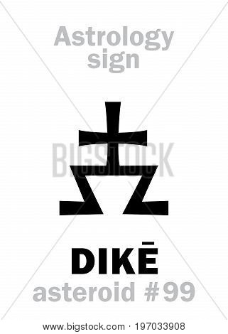 Astrology Alphabet: DIKE, asteroid #99. Hieroglyphics character sign (single symbol).