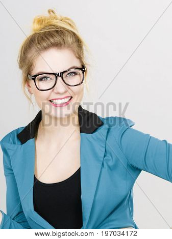 Happy Positive Business Woman, Accountant Or Teacher