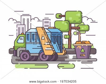 Truck garbage collect trash from container. Vector flat line illustration
