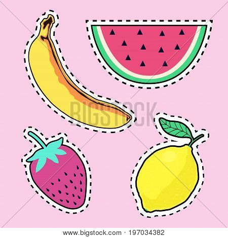 Vector set with cute fruit patch badges: banana watermelon lemon strawberry. Trendy summer collection of stickers pins patches in cartoon comic style.