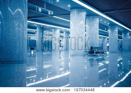 modern building hallway with empty seats,blue toned,china.