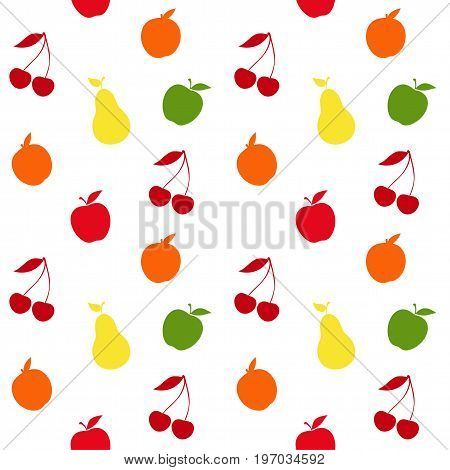 Cute seamless pattern with fruits and berries. Vector illustration.