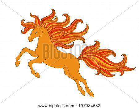 Stylized horse with beautiful wavy mane and ponytail. Illustration in boho style. Vector print for printing on shirts, fabrics, coloring books, banners and etc.
