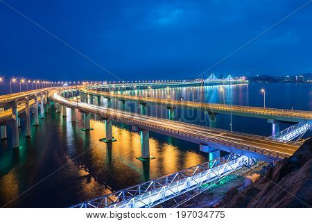 Dalian Cross-Sea Bridge at night,China.