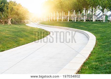 urban park scenery with curved path,tianjin city,china.