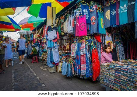 BALI, INDONESIA - MARCH 16, 2016: View of the commercial and trading activities of the main market in Ubud town on Bali Island Indonesia.